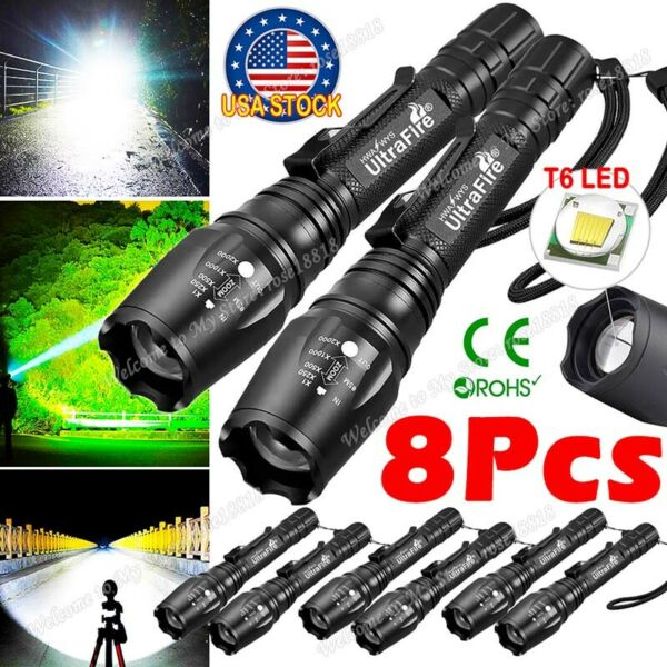 8PCS Tactical 350000LM Zoomable Focus T6 LED High Power Flashlight 186**50 Torch