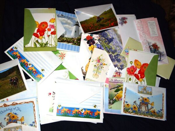 Lot 25 Assorted High Quality Flower Themed Greeting Cards Floral Plants Nature