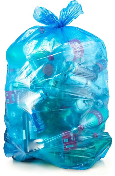 Recycling Trash Bags 55 Gallon 50 count w Ties Large Blue Plastic Garbage ... $21.37