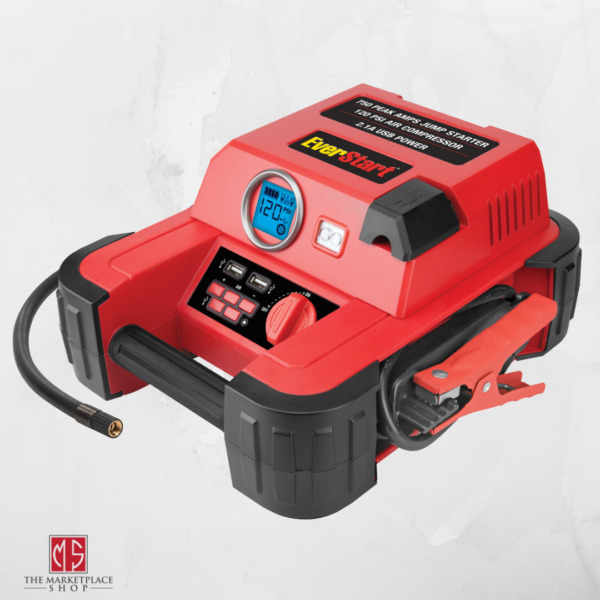 Auto Battery Jump Starter Air Compressor 750 Peak Amps Portable Car Charger NEW $50.95
