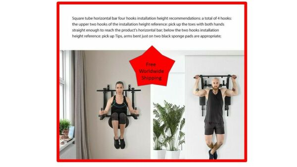 Wall Mounted Pull Up Bar Heavy Duty Wall Horizontal Bar 3 in 1 For Power $328.61