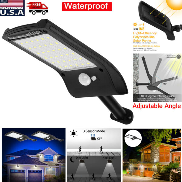 36 LED Solar Lights PIR Motion Sensor Waterproof Outdoor Garden Yard Wall Lamp $13.99