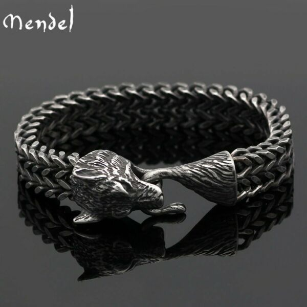 MENDEL 8 Inch Mens Black Stainless Steel Viking Fenrir Wolf Head Bracelet Men