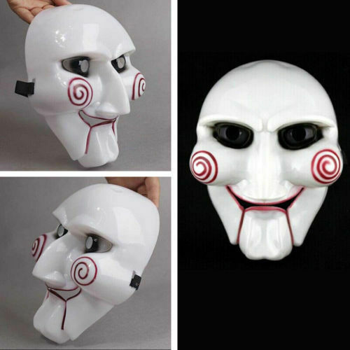 Halloween Mask Head Creepy Scary Costumes Saw Movie Jigsaw Puppet Mask Cosplay