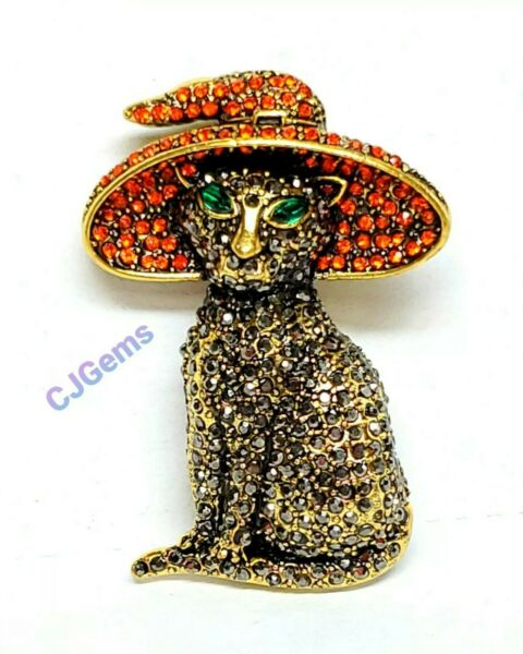 Crystal Cat Witch Hat Halloween Brooch Pin Hematite Stones Unsigned Gift Box