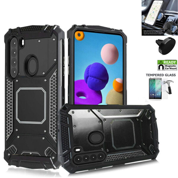 Phone Case For Samsung A21 Heavy Duty Shock Absorbing Metal Cover