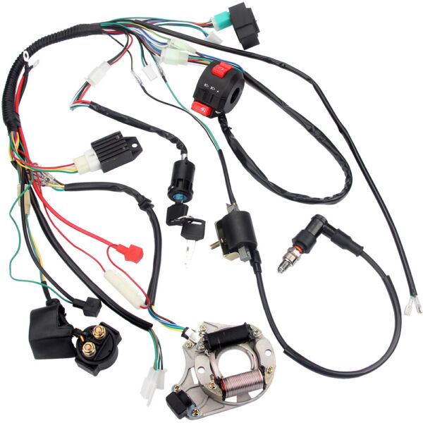 Electric Wiring Harness Wire Loom CDI Stator Kit for 50 70CC 110 125CC ATV QUAD $47.49