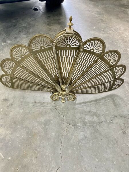 Vintage Brass Fireplace Screen Gargoyle Peacock Fan Ornate Art Deco Great Piece