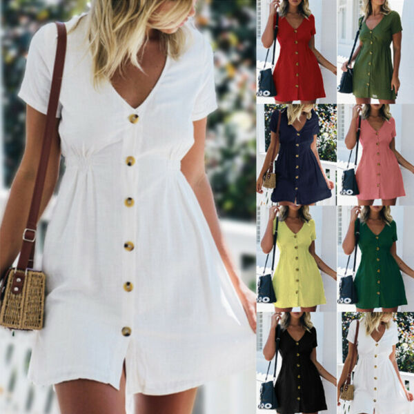 Women Summer Short Sleeve Solid V Neck Button Mini Dress Casual Short Sundress $14.52