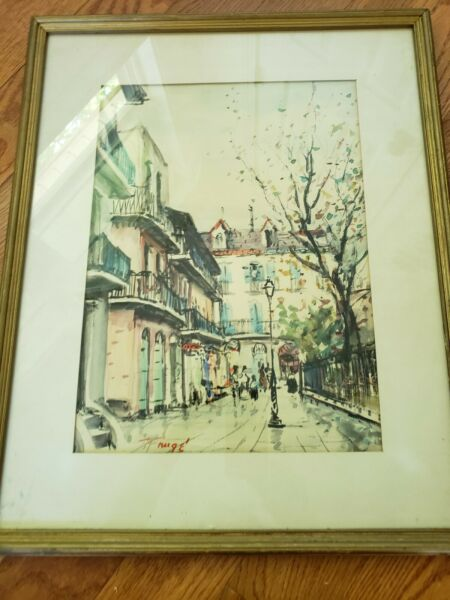 NESTOR HIPPOYLE FRUGE 1914-2011 ORIGINAL WATERCOLOR SIGNED NEW ORLEANS LISTED