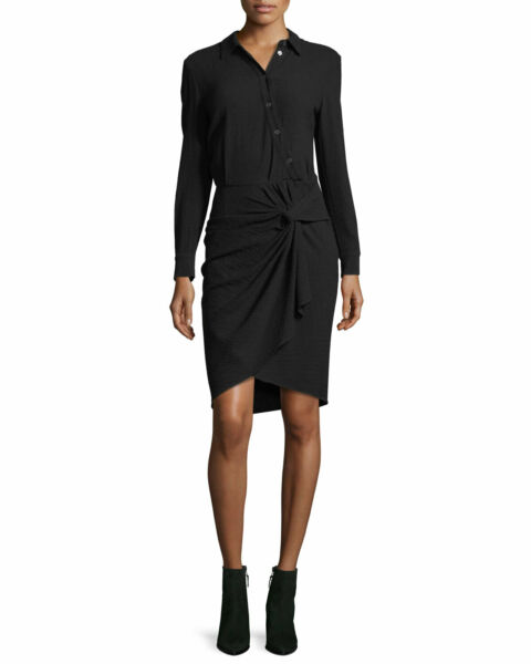Veronica Beard Black quot;Wren: Twisted Shirt Dressquot; Size 10 NWT $550