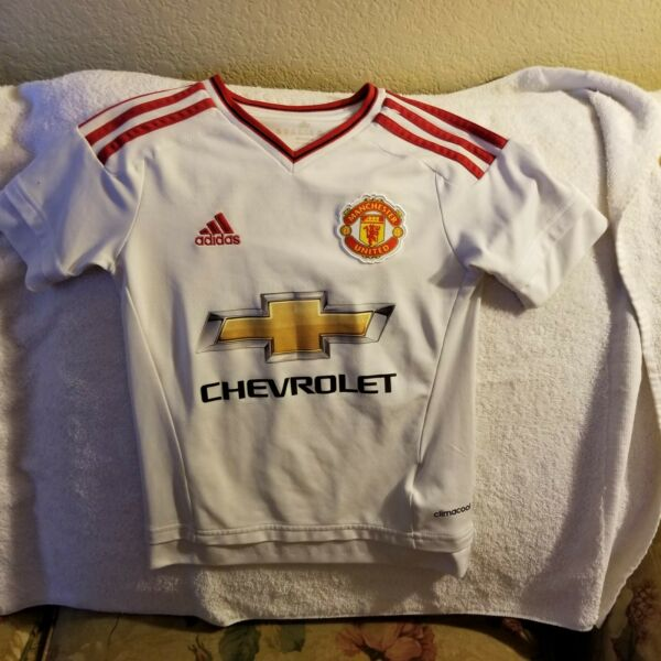 MANCHESTER UNITED SOCCER JERSEY - YOUTH EXTRA SMALL - ADIDAS - CHEVROLET