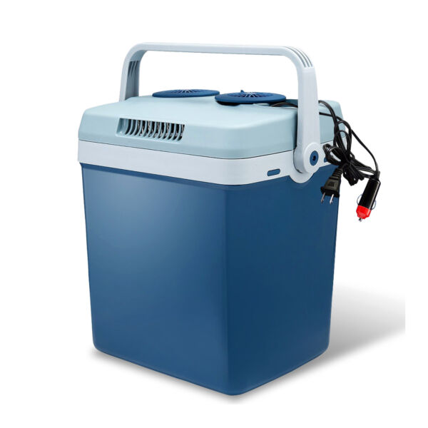 Lifestyle 27 Quart Electric Cooler Warmer with Dual AC and DC Power Cords Blue