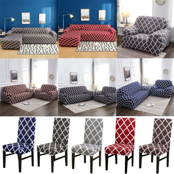 Stretch Chair Loveseat Sofa Covers 1 2 3 4 Seater Couch Cover L Shape Slipcover $24.99