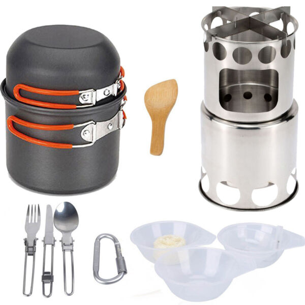 Portable Camping Cookware Kit Outdoor Cooking Bowl Pot With Wood Burner Stove