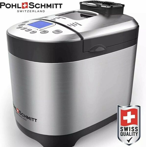 Pohl Schmitt Stainless Steel Bread Machine, 2LB 17-in-1 with Fruit Nut Dispenser