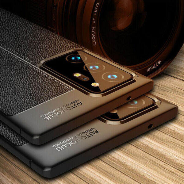 For Samsung Note 20 Ultra Note20 Case Shockproof Leather Grain Soft Rubber Cover $8.09