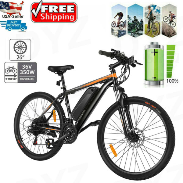 26'' Electric Bike Mountain Bicycle E-bike Availabe Lithium-Ion Battery 350W USA
