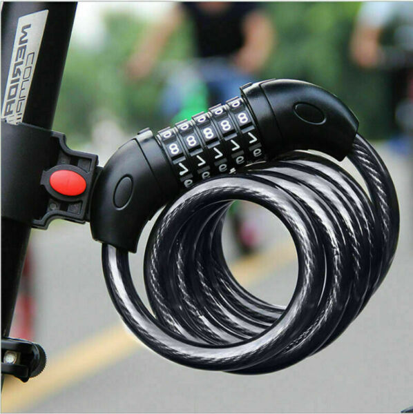 Hot Sale 1 PC Black 5 Digit Combination Password Bike Lock Cable Bicycle Chain $7.82