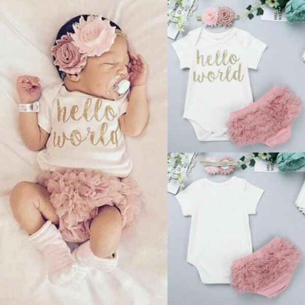 Newborn Baby Girls Clothes Set Romper BodysuitPants Dress Headband Outfits