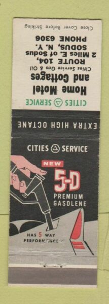 Matchbook Cover Cities oil gas Home Motel Sodus NY $3.99