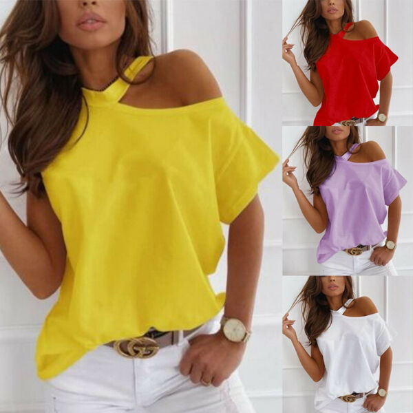 Women Summer Short Sleeve Cold Shoulder Print Solid Blouse Casual Loose T Shirt $14.52