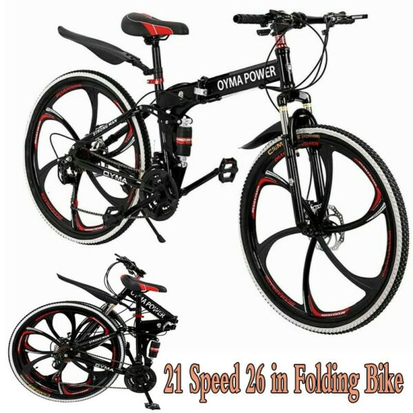 HOT 26quot; Folding Bike Mountain Bike 21 Speed Double Disc Brake Bicycle MTB Bikes $205.67