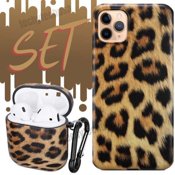 Leopard Print Shockproof iPhone 11 Pro Xs Max XR 8 Case CoverAirpods 1 2 Cover