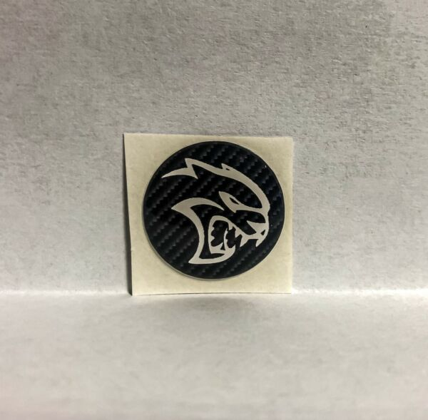 Hellcat Push To Start Button Decals WhiteRedBrushed Metal Carbon Background $19.99