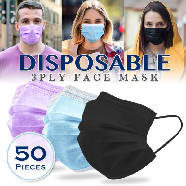 50PCS 3PLY Protective Face Mask Disposable Non Medical Surgical Dust Mouth Cover $12.99