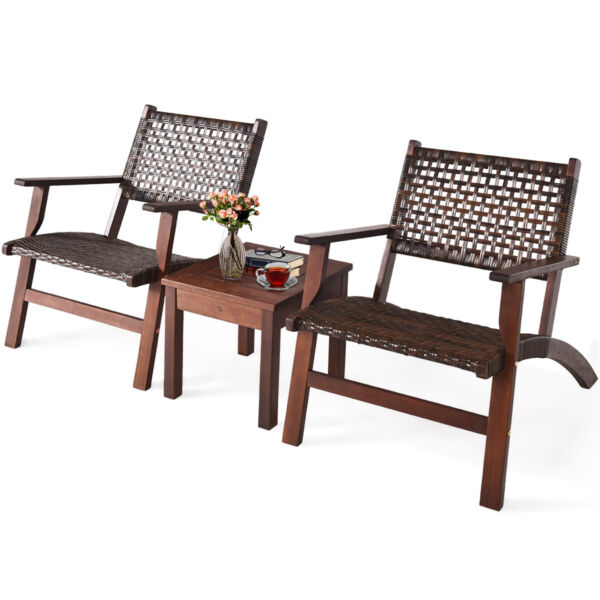 3PCS Outdoor Patio Rattan Furniture Set Solid Wood Frame Chair Coffee Table $189.99