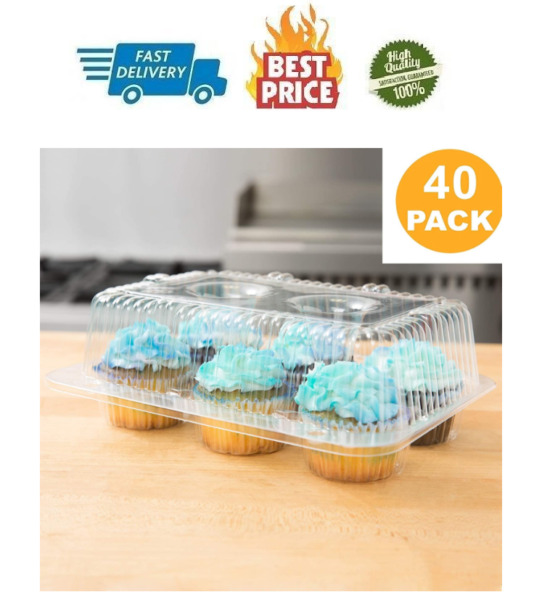40 Cupcake Containers Plastic Disposable High Dome Cupcake Boxes 6 Compartment C