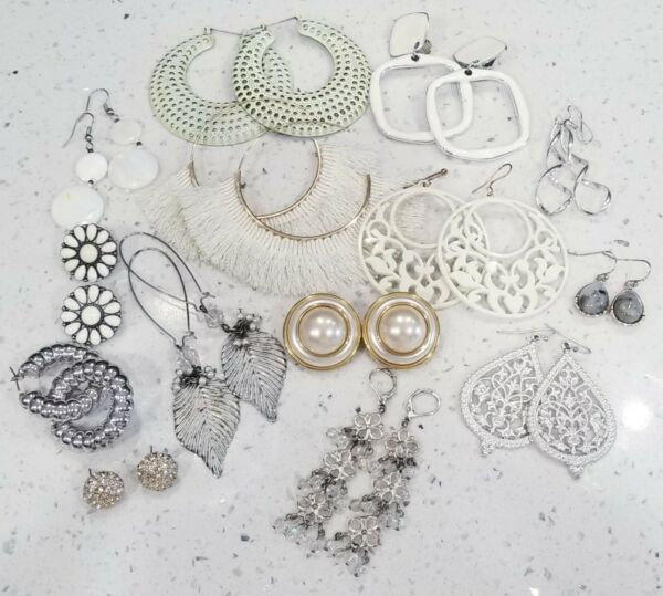 White Earring Lot Vintage Costume 14 Pairs . EL#9