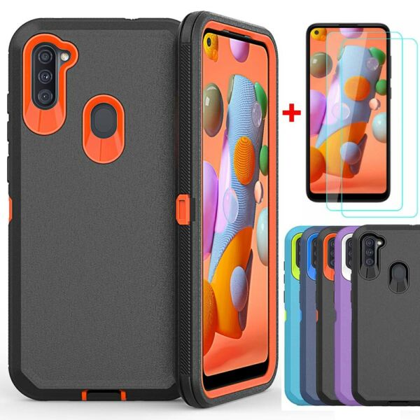 For Samsung Galaxy A21 A11 Case Shockproof Armor Cover Glass Screen Protector $9.95