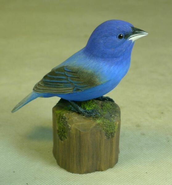 Indigo Bunting Original Bird Wood Carving
