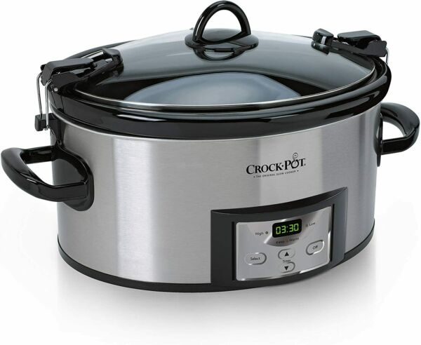 Programmable Slow Cooker with Digital Timer 6 Quart Cook Carry Stainless Steel