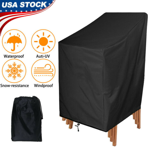Waterproof Stacking Chair Cover Outdoor Garden Patio Furniture Storage Covers