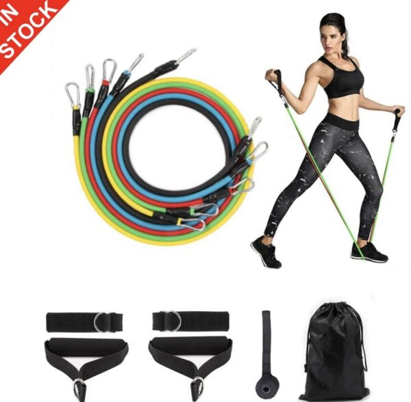 Resistance Bands 11piece Set Yoga Pilates Abs Exercise Fitness Tube Workout Band $8.99
