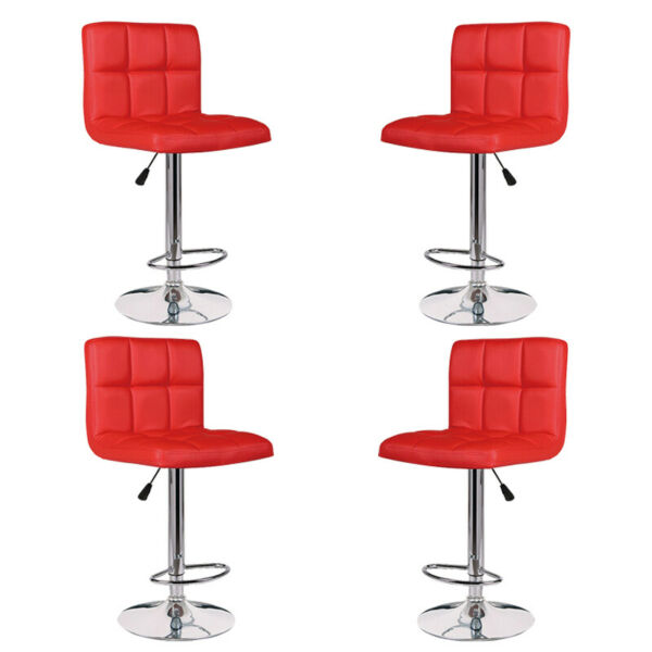 Set of 4 Bar Stools Leather Adjustable Swivel Pub Chairs Counter Height New USA