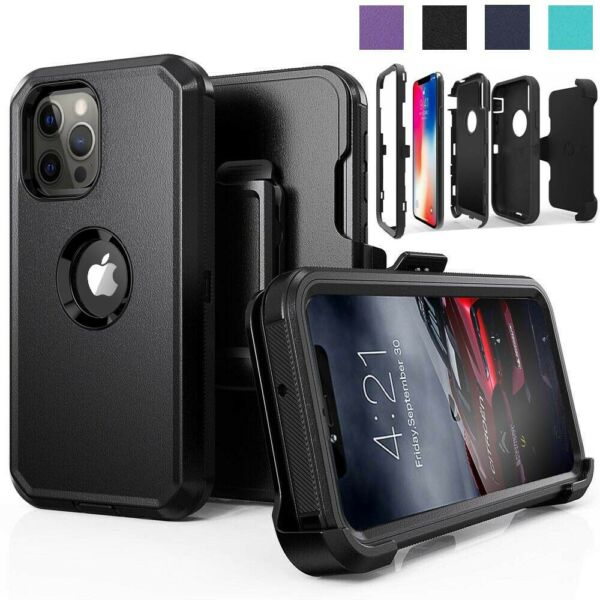For iPhone 11 12 Pro Max Shockproof Defense Case With Stand Belt Clip Holster
