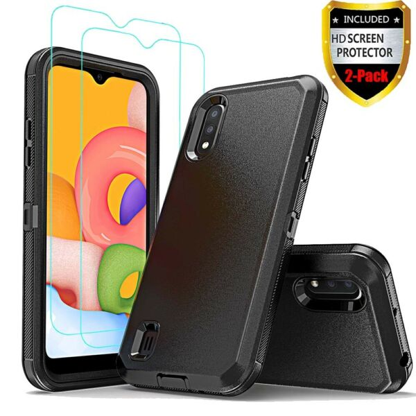 For Samsung Galaxy A01 Case Heavy Duty Shockproof CoverTempered Glass Protector