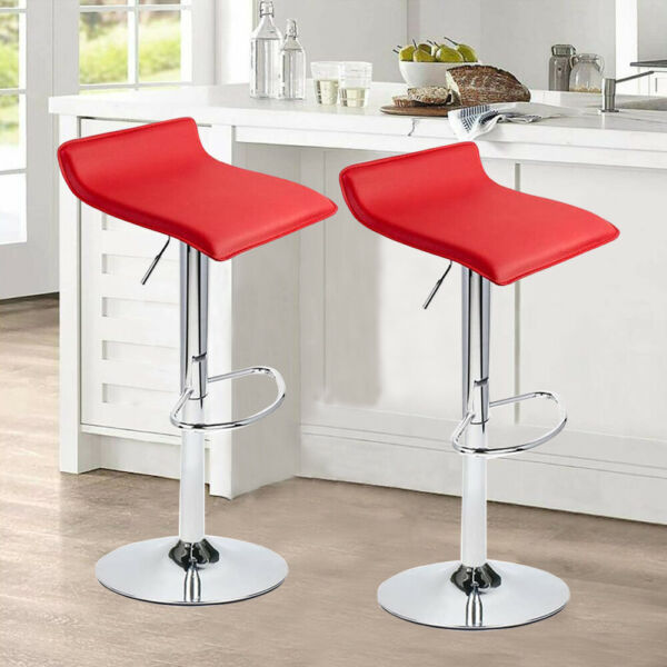 Bar Stool Pub Dinning Chair Leather Adjustable Swivel Hydraulic Counter Set of 2