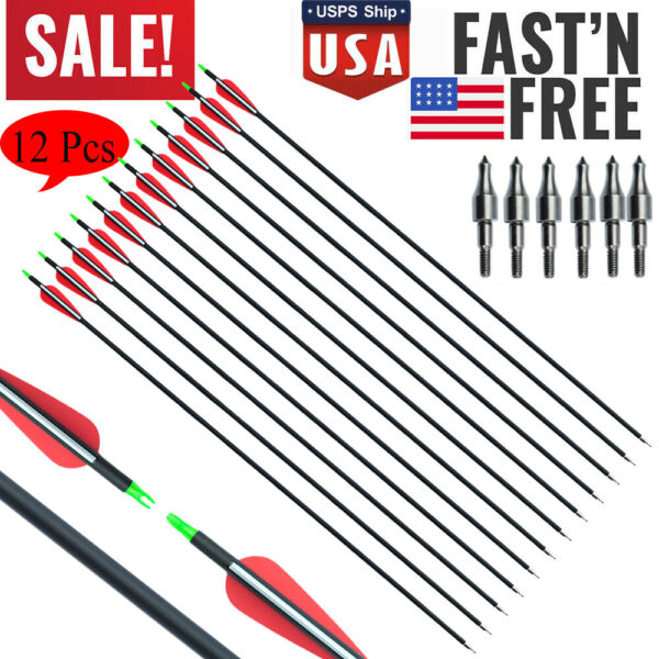 12Pcs 30 inches Spine 500 Archery Carbon Arrow for Recurve Compound Bows Hunting $32.98