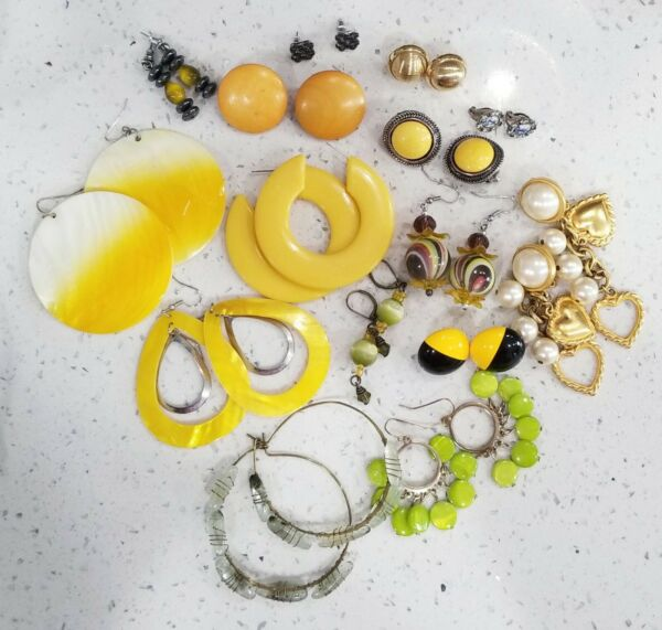 Yellow Earring Lot Vintage Costume 15 Pairs . EL#14