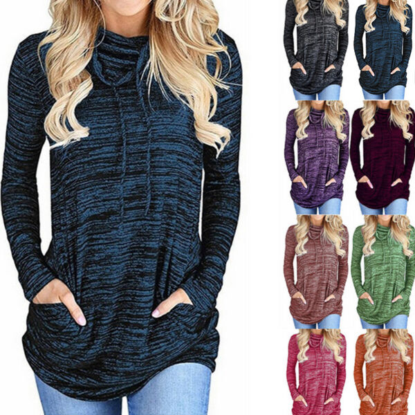 Women Long Sleeve High Neck Pocket Solid T Shirt Casual Loose Blouse Tunic Tops $16.49
