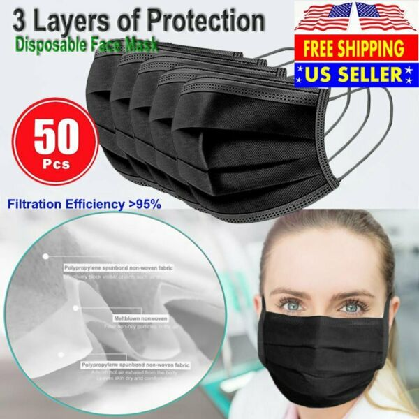 BLACK 50 PCS Face Mask Non Medical Surgical Disposable 3 Ply Earloop Mouth Cover $8.99