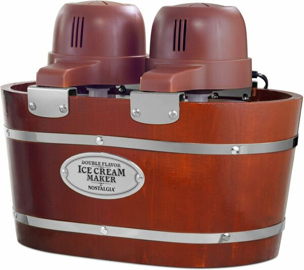 Electric Bucket Ice Cream Maker Makes 4 Quarts in Minutes Two 2 Qt Canisters $54.99