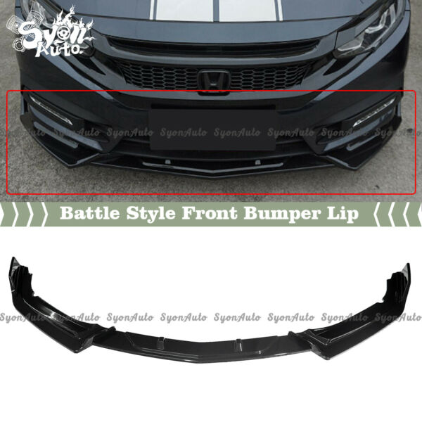 FITS 2016 2020 HONDA CIVIC 4DR amp; 2DR GLOSS BLACK BATTLE STYLE FRONT LIP SPLITTER