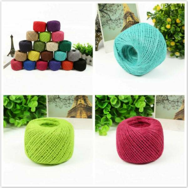 3Ply DIY Burlap Natural Fiber Jute Twine Rope Cord String Decor Craft Gift 50M