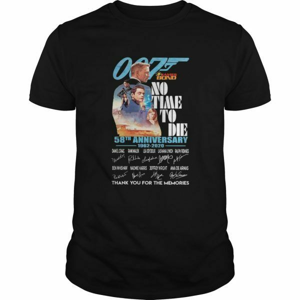 007 James Bond No Time To Die 58th Anniversary 1962 2020 Thank You For The shirt